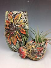 sunflower vase and chicken pot.jpg
