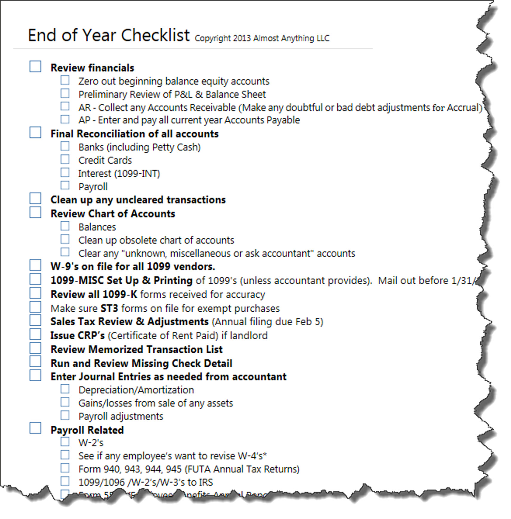 Yearly Checklist