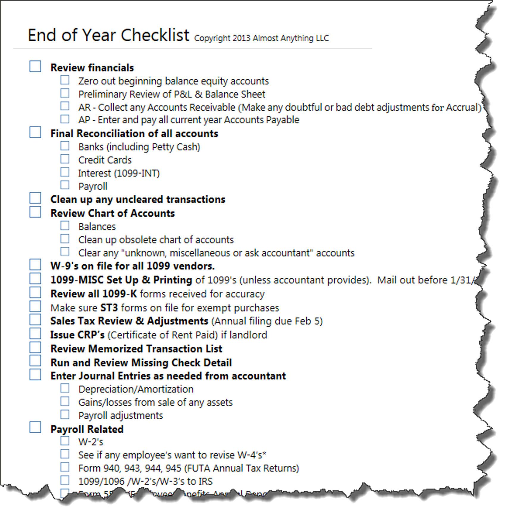 Yearly Checklist