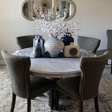 Beautiful White & Metallic Pedestal Table