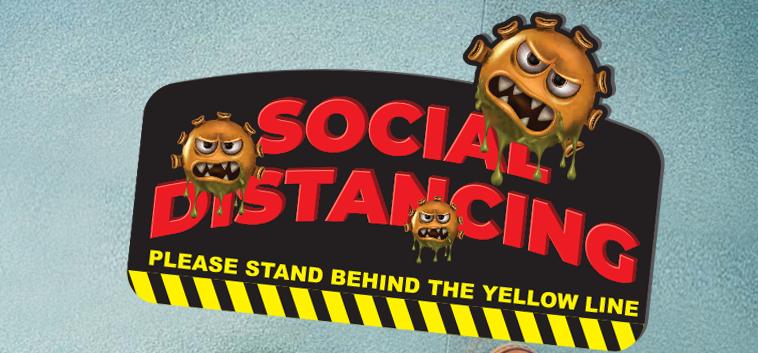 social distance sticker virus