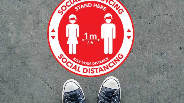 social distance sticker round red