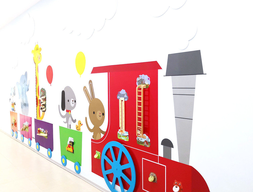 This is not a simple wallpaper but it can be interctive, It has wall toys on it , kids can play around with it.