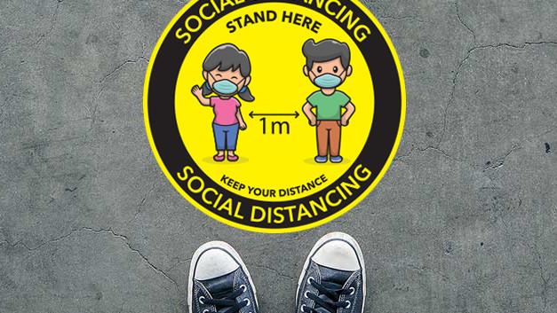 social distance sticker round yellow