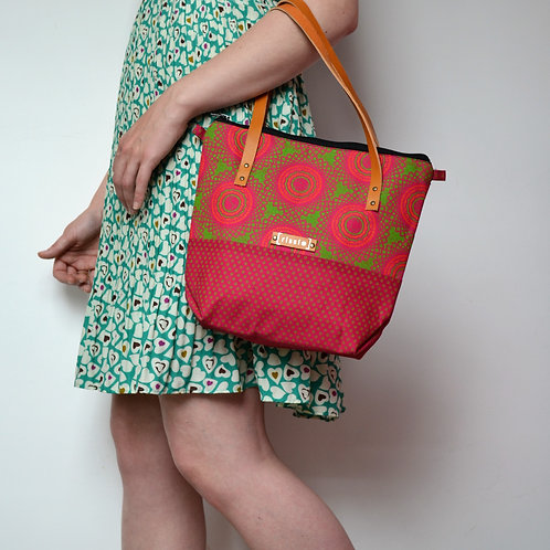 Medium fabric two tone tote bag with brown leather straps