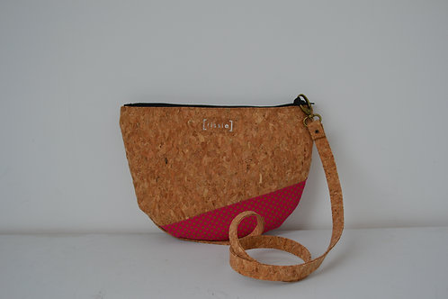Pink African Fabric and Cork Small Shoulder Bag with cork strap
