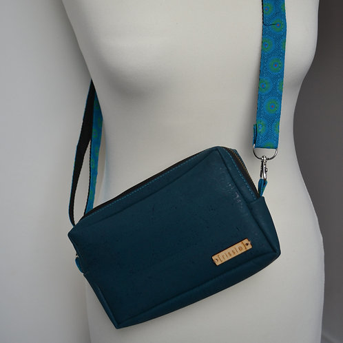 Teal cork crossbody bag with integrated coin, card and notes compartments