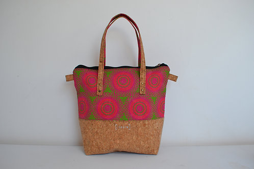Medium fabric and cork two tone tote bag with cork straps