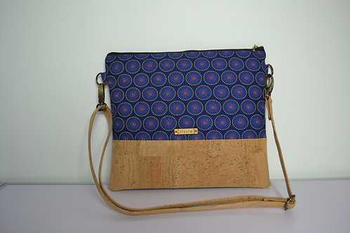 Indigo Fabric and Cork Leather Cross Body bag with cork strap