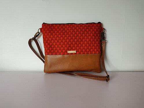 Genuine leather and orange fabric crossbody bag