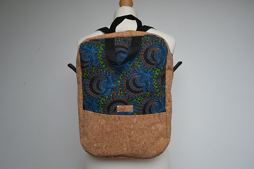 Cork and black fabric backpack with black webbing straps
