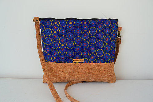 Cork and Blue Fabric Cross Body bag with cork strap