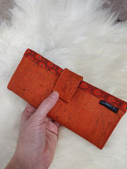 Polperro Maxi Cork Leather Wallet in Orange