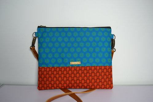 Turquoise and Orange Fabric Cross Body bag with brown leather strap