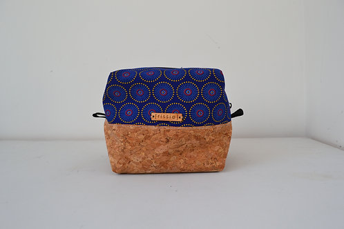 Indigo fabric and cork fabric box shaped cosmetic bag