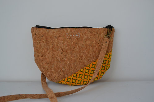 Yellow African Fabric and Cork Small Shoulder Bag with cork strap