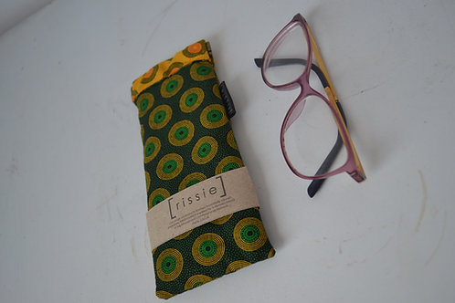 Green and yellow fabric spring top sunglasses case, bookish gift