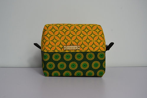 Yellow and Green fabric box shaped cosmetic bag