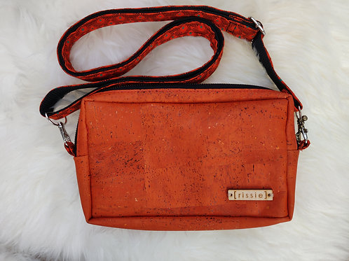 Nairn Bag in orange - cork leather cross body bag with integrated wallet