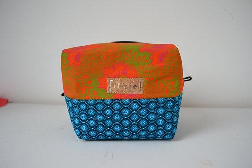 Orange and Turquoise fabric box shaped toiletry bag