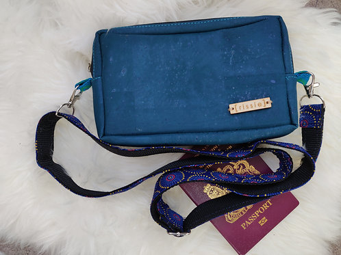 Nairn Bag in teal - cork leather cross body bag with integrated wallet