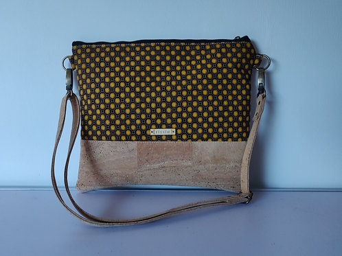 Mustard Fabric and Cork Leather Cross Body bag with cork strap