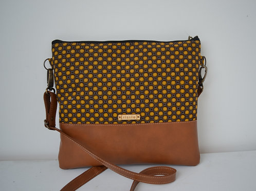 Genuine leather and brown and mustard fabric crossbody bag