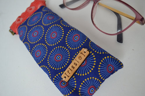 Blue and red fabric spring top sunglasses case, bookish gift