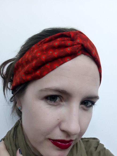 Orange shweshwe fabric turban headband