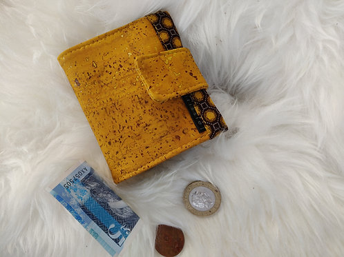 Polperro Midi Cork Leather Wallet in Mustard