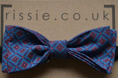 Blue pre-tied bow tie
