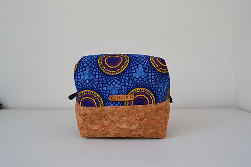 Blue sunflower fabric and cork fabric box shaped cosmetic bag