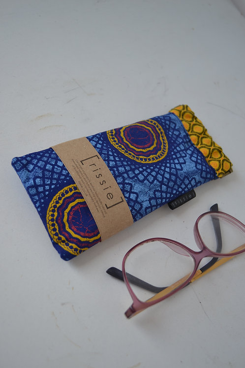 Blue and yellow fabric spring top sunglasses case, bookish gift