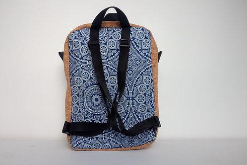 Cork and blue mandala fabric backpack with black webbing straps