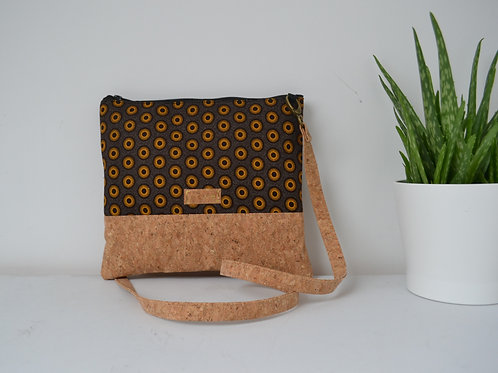 Cork and Brown Fabric Cross Body bag with cork strap