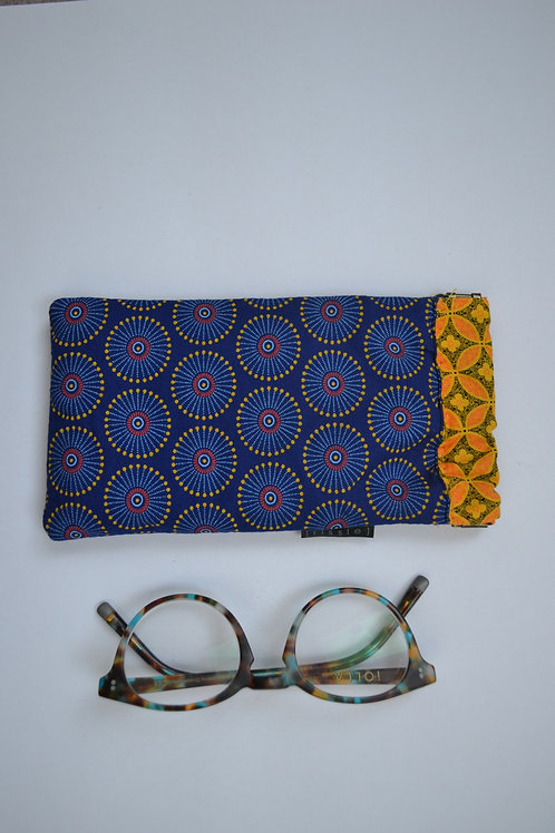 Blue and yellow fabric spring top glasses case