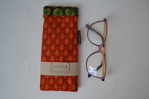 Orange and green fabric spring top sunglasses case, bookish gift