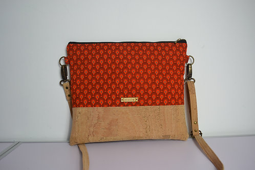 Orange Fabric and Cork Leather Cross Body bag with cork strap