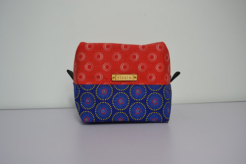 Red and blue fabric box shaped cosmetic bag