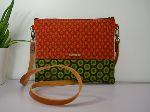 Orange and Green Fabric Cross Body bag with brown leather strap