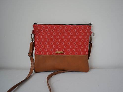 Genuine leather and red fabric crossbody bag