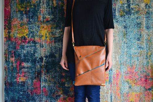Genuine leather convertible crossbody bag and backpack