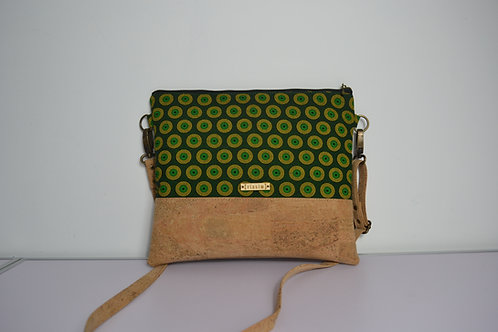 Green and Cork Leather Cross Body bag with cork strap