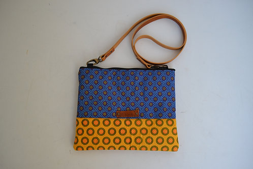 Blue and Yellow Fabric Cross Body bag with Brown Leather strap