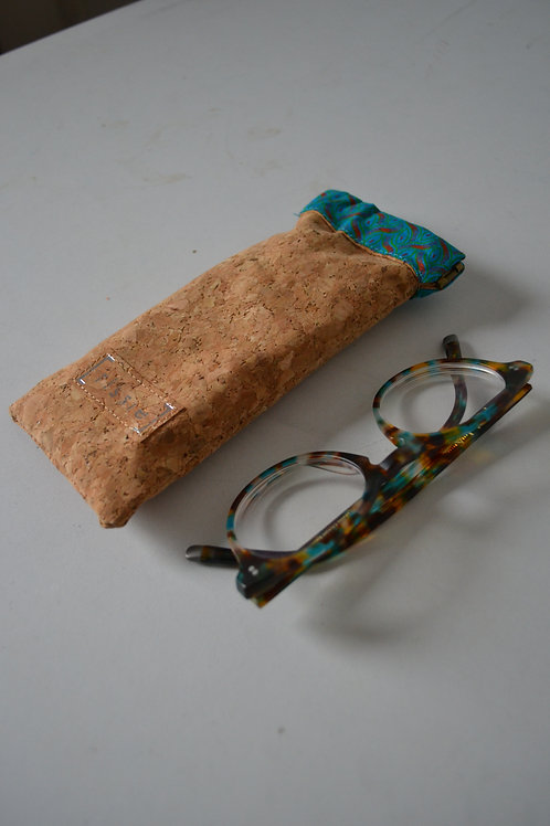 Cork and Turquoise fabric spring top glasses case