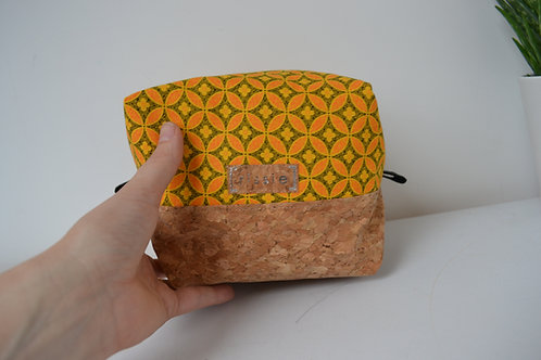 Yellow and cork fabric box shaped cosmetic bag