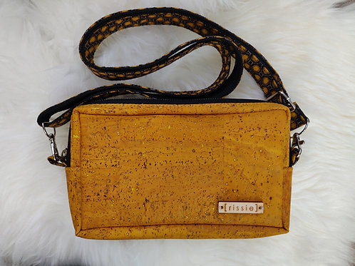Nairn Bag in mustard - cork leather cross body bag with integrated wallet
