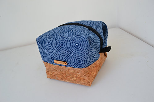 Blue fabric and cork fabric box shaped cosmetic bag