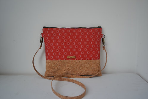 Cork and red Fabric Cross Body bag with cork strap