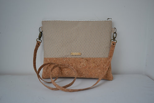 Cork and White Fabric Cross Body bag with cork strap